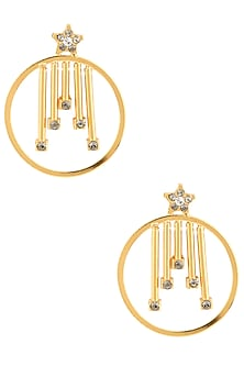 Gold Finish Swarovski Crystals Geometric Round Earrings by Micare