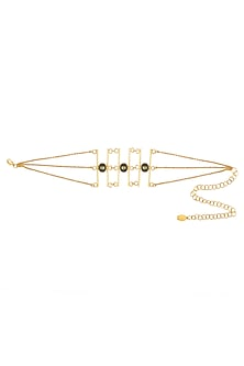Gold Finish Green Pearl Three Chain Choker by Micare