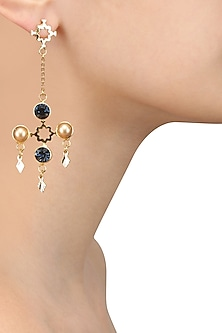 Gold Finish Swarovski Crystal and Pearl Dangler Earrings by Micare
