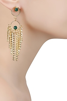 Gold Finish Emerald Stone Round Layered Earrings by Sonnet Jewellery