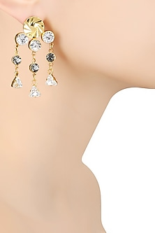 Gold Finish White and Grey Swarovski Crystal Earrings by Micare