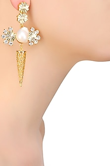 Gold Plated Swarovski Crystal and Pearl Flower Earrings by Sonnet Jewellery