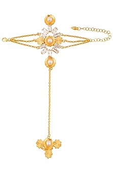 Gold Plated Swarovski Crystal and Pearl Hand Hanrness by Sonnet Jewellery