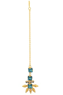 Gold Plated Blue Swarovski Crystal and Bullet Maang Tikka by Sonnet Jewellery