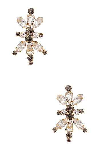 Gold Plated Swarovski Crystals Encrusted Earrings by Micare