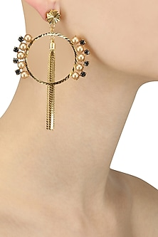 Gold Plated Pearl Tassel Chains Hoop Earrings by Micare