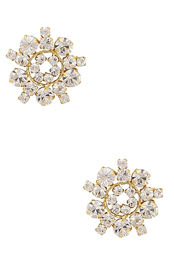 Gold Plated Round Swarovski Encrusted Earrings by Micare