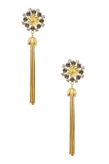 Gold Plated Tassel Chains Dangler Earrings by Micare