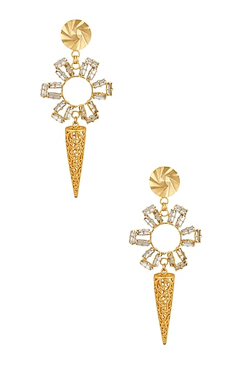 Gold Plated Round Swarovski Earrings by Micare