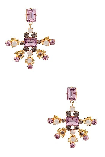Gold Plated Amethyst, White Opal and Black Diamond Earrings by Micare