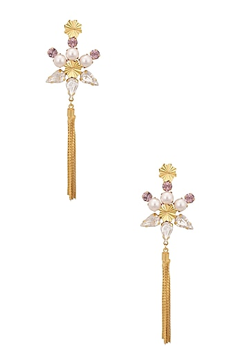Gold Plated Swarovski Crystal Tassel Earrings by Micare