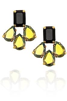 Gold finish green swarovski earrings by Sonnet Jewellery-JEWELLERY ON DISCOUNT