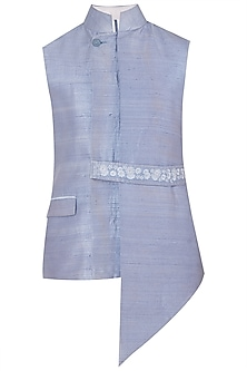Mauve Asymmetrical Waistcoat with Embroidered Belt by Mitesh Lodha