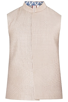 Onion Pink Quilted Embroidered Waistcoat by Mitesh Lodha