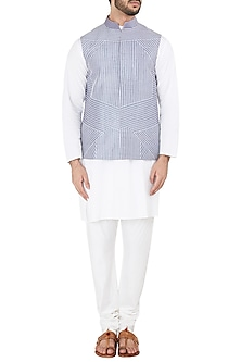 Light Blue Quilted Embroidered Waistcoat by Mitesh Lodha