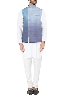 Blue Ombre Waistcoat by Mitesh Lodha