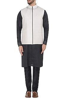 Light Grey Embroidered Zipper Waistcoat by Mitesh Lodha