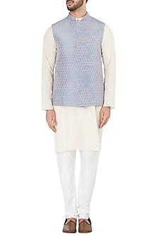 Mauve Honeycomb Embroidered Waistcoat by Mitesh Lodha