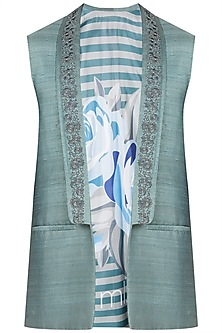 Green Shawl Lapel Embroidered Waistcoat by Mitesh Lodha