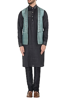 Green Shawl Lapel Embroidered Waistcoat by Mitesh Lodha