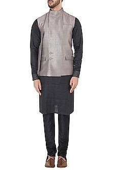 Green Overlapping Collar Waistcoat by Mitesh Lodha