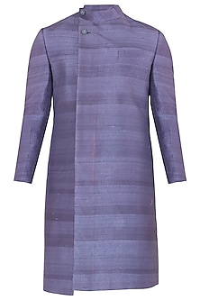 Purple Overlapping Collar Sherwani by Mitesh Lodha