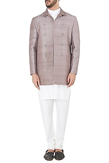 Copper Notch Lapel Collar Jacket by Mitesh Lodha