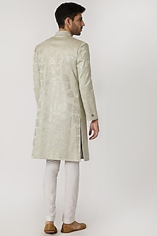 Sage Green Embroidered Sherwani by Mitesh Lodha