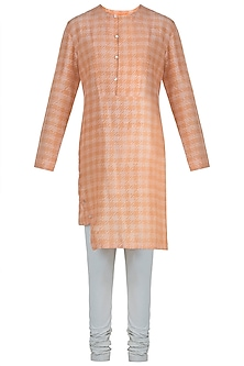 Orange printed kurta by Mitesh Lodha