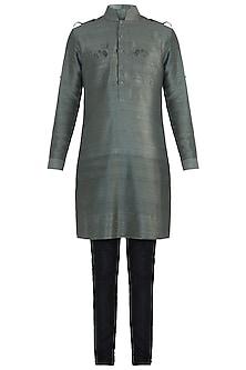 Olive green embroidered kurta by Mitesh Lodha