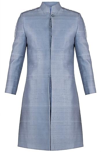 Light blue embroidered sherwani jacket by Mitesh Lodha