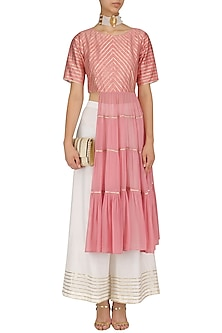 Pink Tiered Tunic with White Palazzo Pants by Mint Blush
