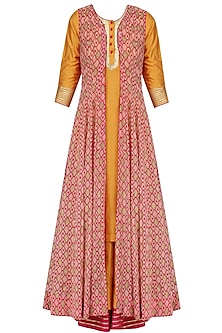Mustard Kurta, Palazzo Pants and Printed Cape Set by Mint Blush