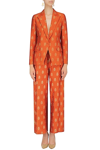 Burnt Orange Foil Printed Blazer and Pant Set by Mint Blush