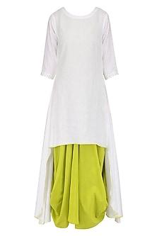 Green Drape Dress and White Tunic Set by Mint Blush