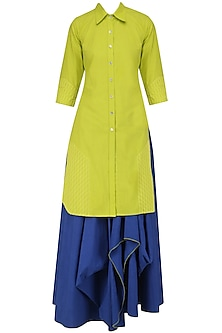 Green Shirt Kurta and Blue Drape Skirt Set by Mint Blush