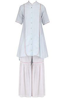 Blue Front Open Tunic and Sharara Pants Set by Mint Blush