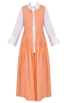 White Pleated Shirt, Palazzo Pants and Orange Cape Set by Mint Blush