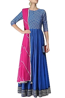 Blue and Silver Gota Embroidery Anarkali with Pink Dupatta by Mint Blush