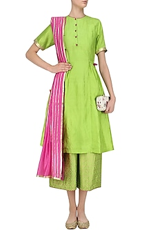 Bright Green Gathered Tunic with Crop Foil Print Pants by Mint Blush