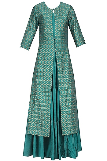 Deep Green Tiered Maxi Dress with Foil Print Long Jacket by Mint Blush