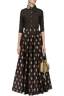 Dark Brown Formal Shirt with Foil Print Kalidaar Skirt by Mint Blush