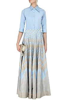 Light Blue Formal Shirt with Foil Print Kalidaar Skirt by Mint Blush