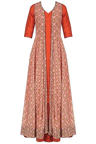 Orange Kurta and Palazzo Set with Printed Long Jacket by Mint Blush
