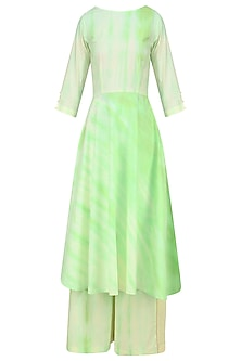 Mint Tie and Dye Patterened Kurta Set with Pink Stole by Mint Blush