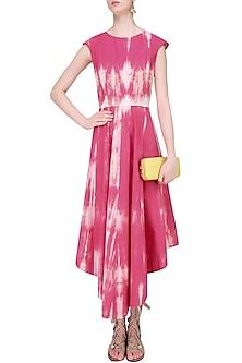 Pink Tie and Dye Asymmetrical Maxi Dress by Mint Blush