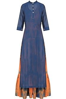 Navy Plain Kurta with Orange Tie and Dye Tiered Dress by Mint Blush