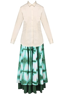Green and White Tie and Dye Palazzo Pants with Cream Formal Shirt by Mint Blush