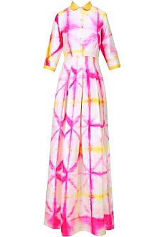 Pink and White Tie and Dye Box Pleat Maxi by Mint Blush