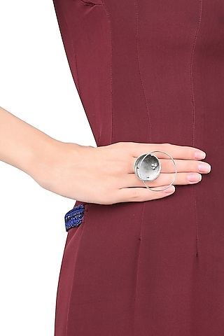 White Gold Plated Flux Ring by Misho